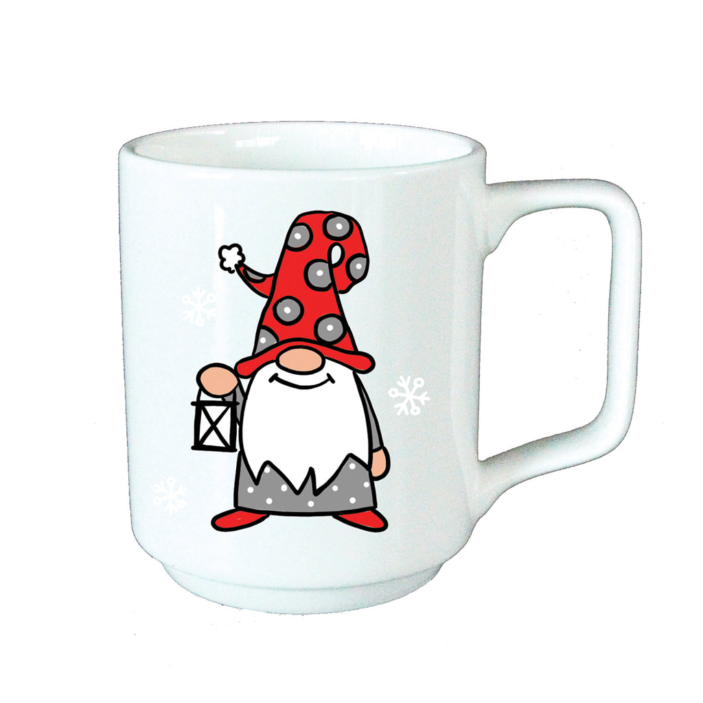 White mug with Gnome holding a Lantern