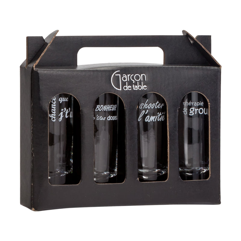 4 shot glasses in a gift box