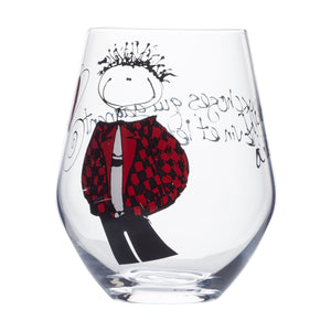 Wine Glass - Boy with red and black jacket