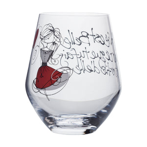 Wine Glass - Girl with red skirt