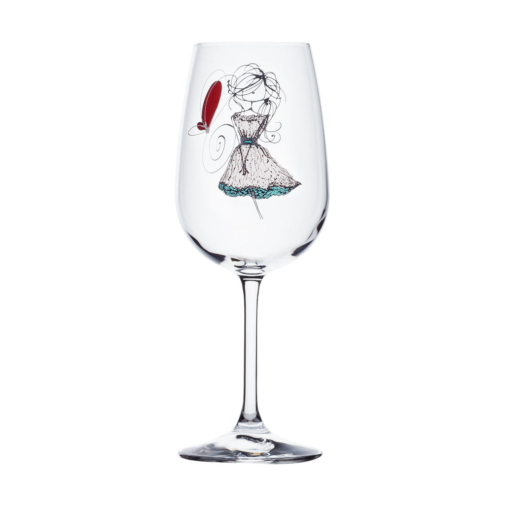 Wine Glass - Girl with white dress