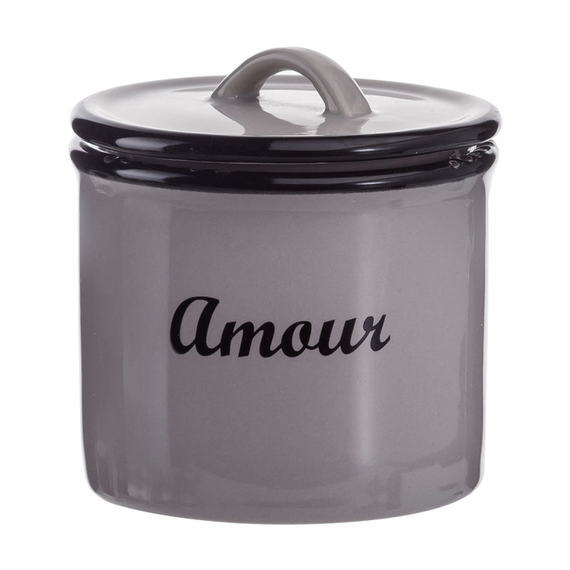 Small Light Grey enamel look jar with lid - Amour