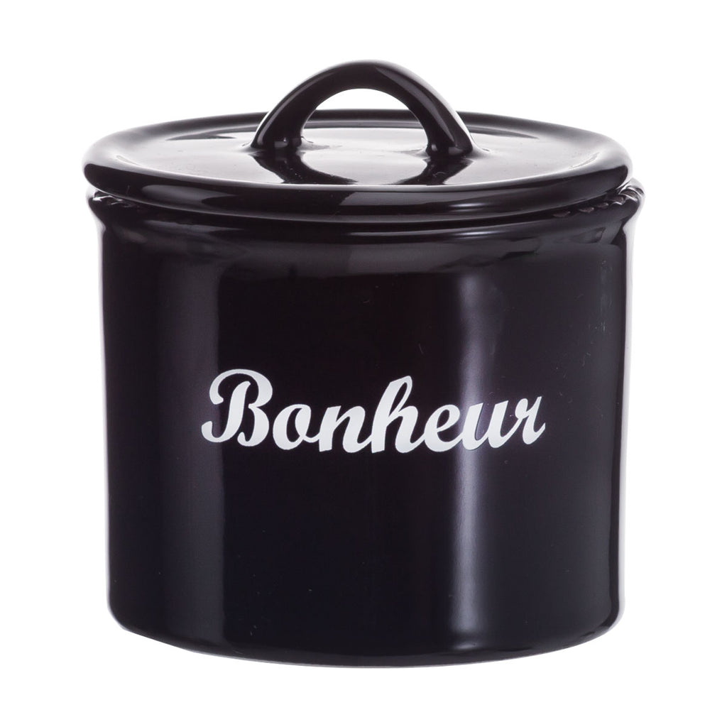 Small Black enamel look jar with lid - Bonheur
