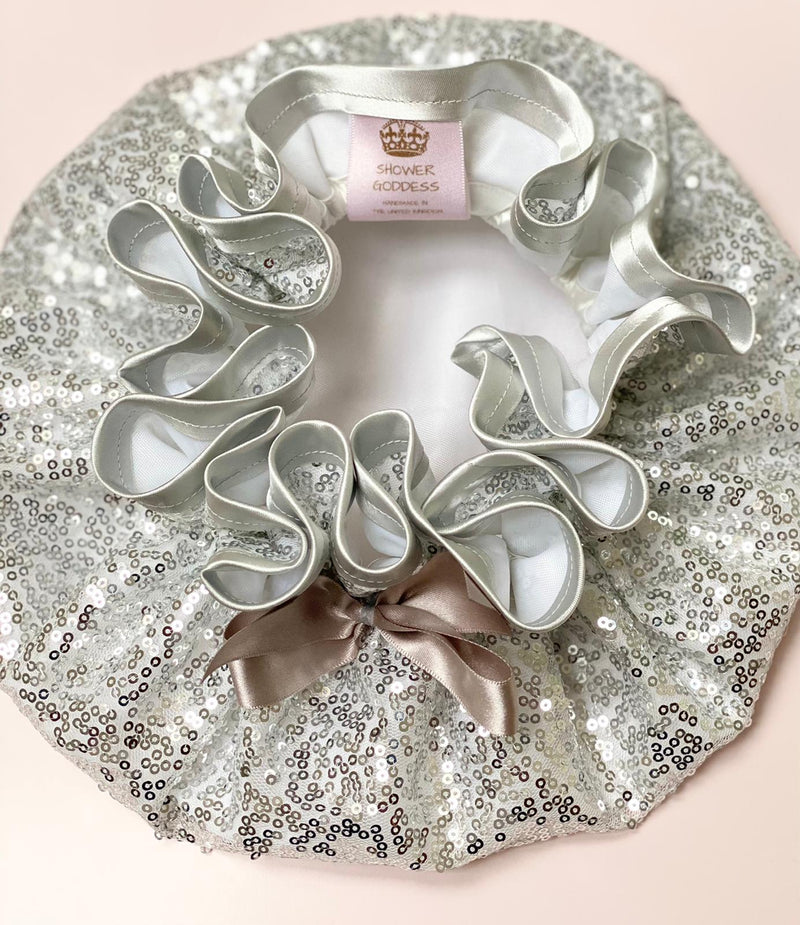 Silver Sequin Luxury Shower Cap