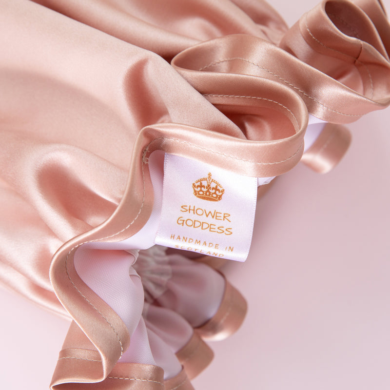 Rose Gold Satin Shower Cap