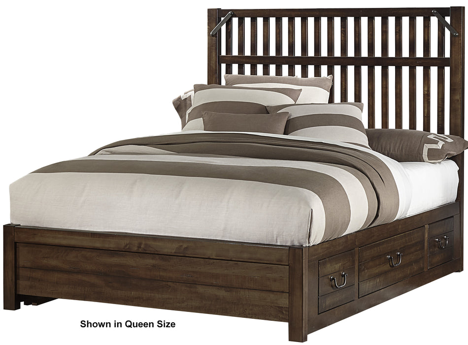 Sedgwick Classic Dark Maple King Elevator Slat Bed with 1 side storage