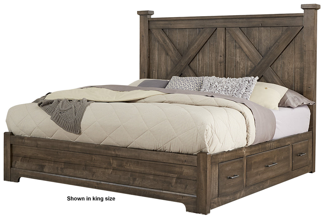 Cool Rustic Mink Queen X Bed with 1 Side Storage