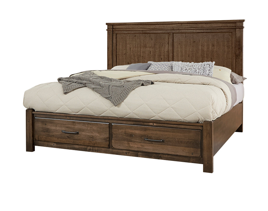 Cool Rustic Mink Queen Mansion Bed with footboard storage