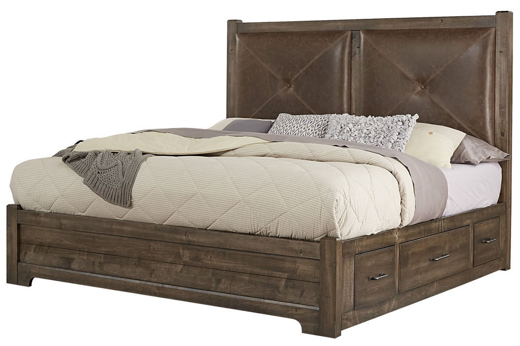 Cool Rustic Mink Queen Leather Bed with 1 Side Storage