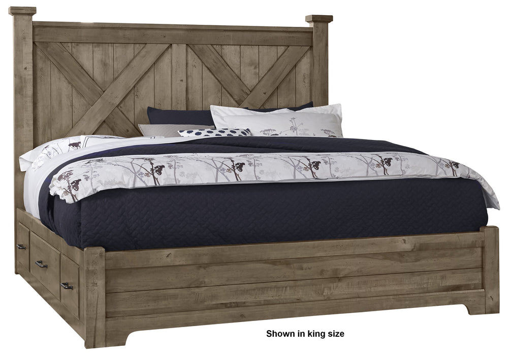 Cool Rustic Stone Grey Queen X Bed with 1 Side Storage