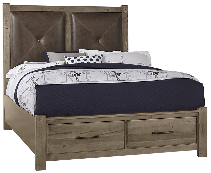 Cool Rustic Stone Grey Queen Leather Bed with Footboard Storage