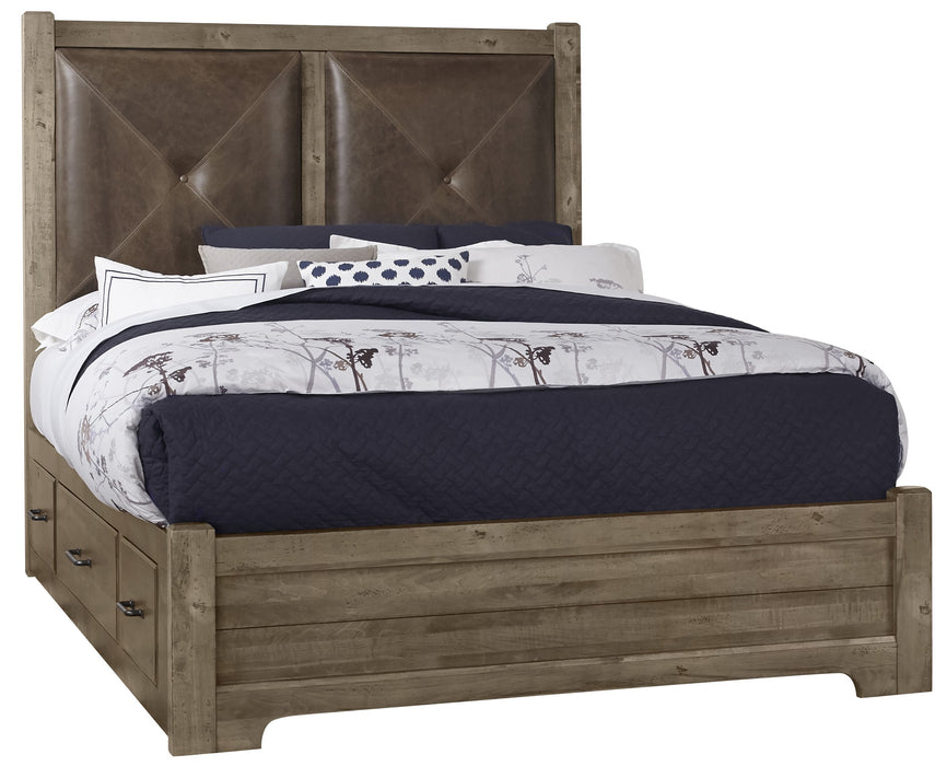 Cool Rustic Stone Grey Queen Leather Bed with 1 Side Storage