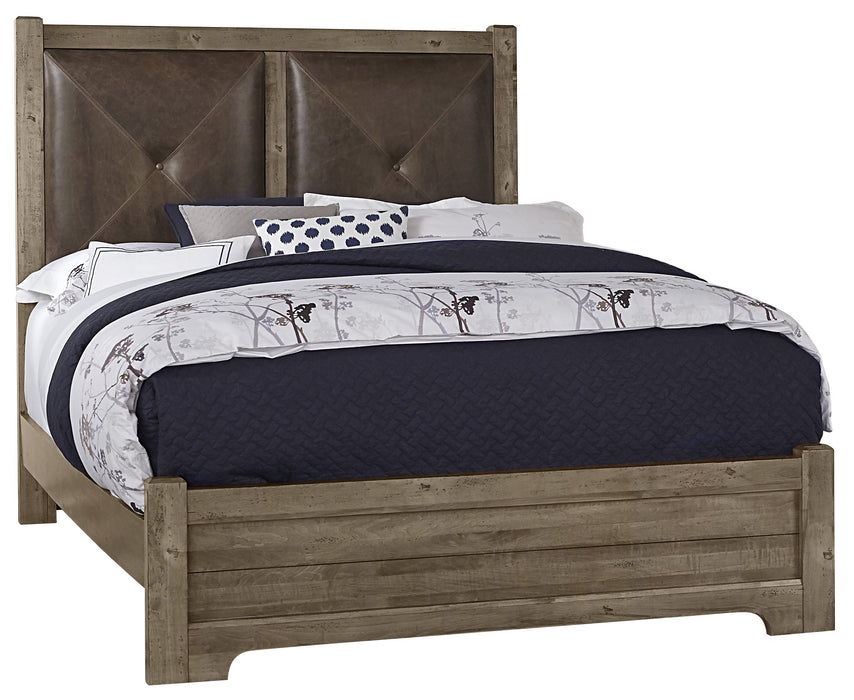 Cool Rustic Stone Grey Queen Leather Bed with Low Profile Footboard