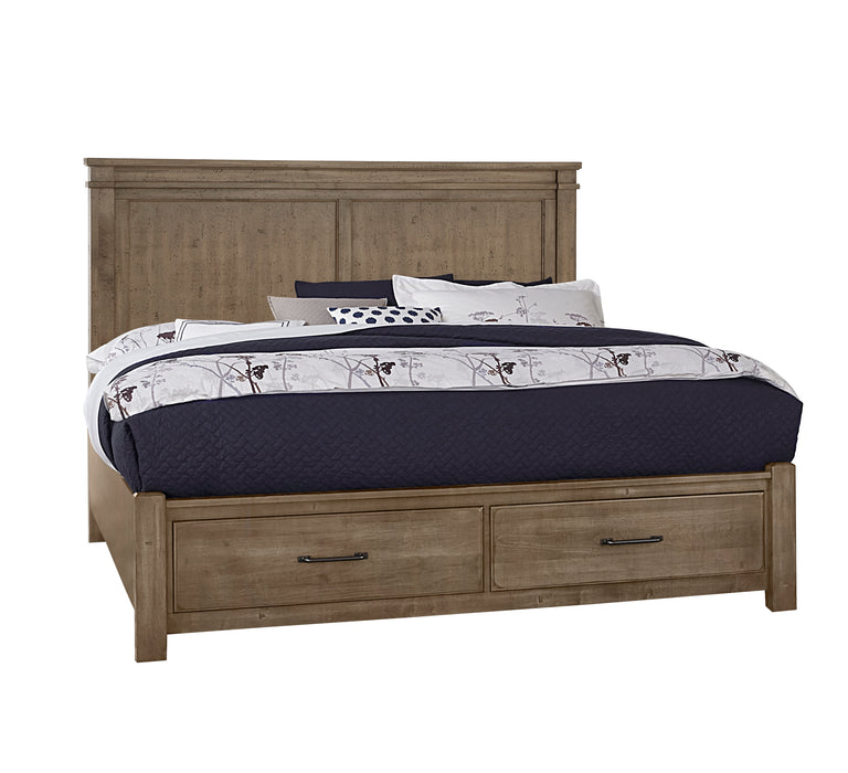 Cool Rustic Stone Grey Queen Mansion Bed with footboard storage