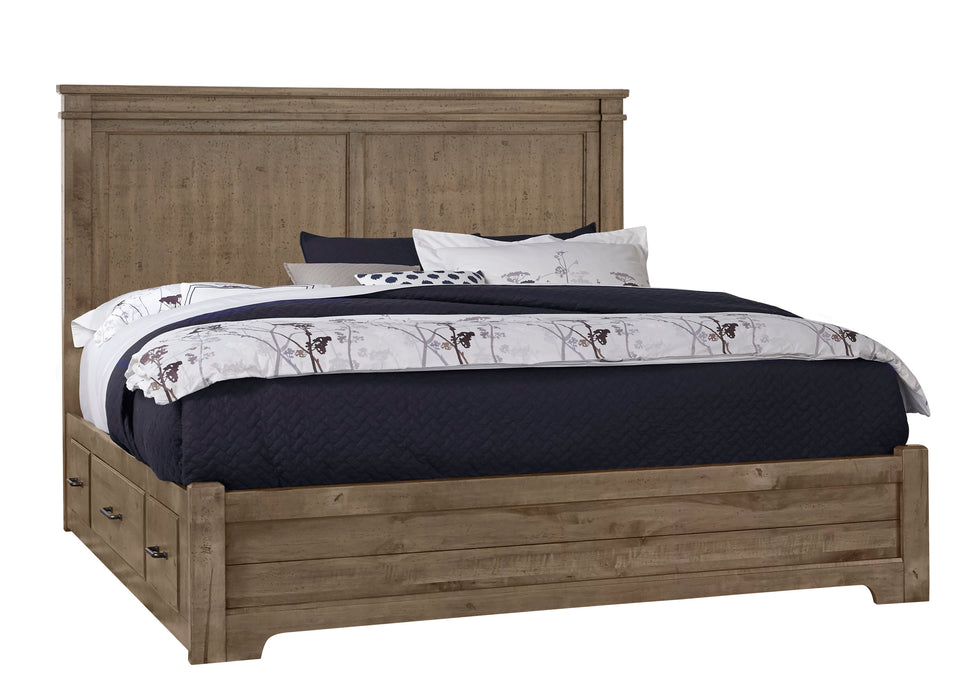 Cool Rustic Stone Grey Queen Mansion Bed with 1 Side Storage