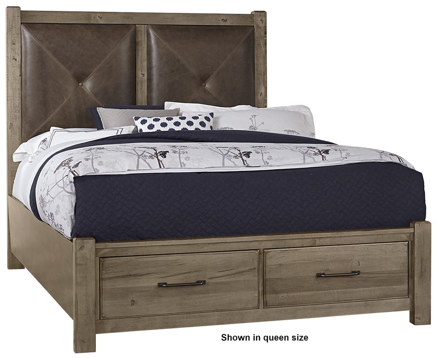 Cool Rustic Stone Grey King Leather Bed with Footboard Storage