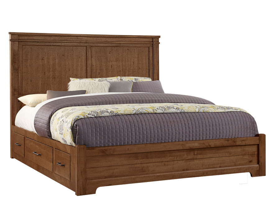 Cool Rustic Amber Queen Mansion Bed with 1 Side Storage
