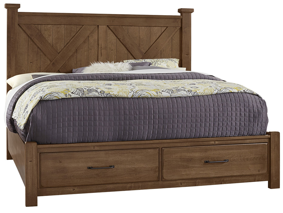 Cool Rustic Amber Queen X Bed with Footboard Storage