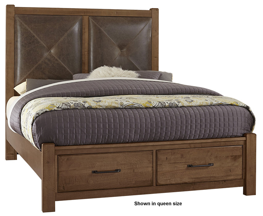 Cool Rustic Amber King Leather Bed with Footboard Storage