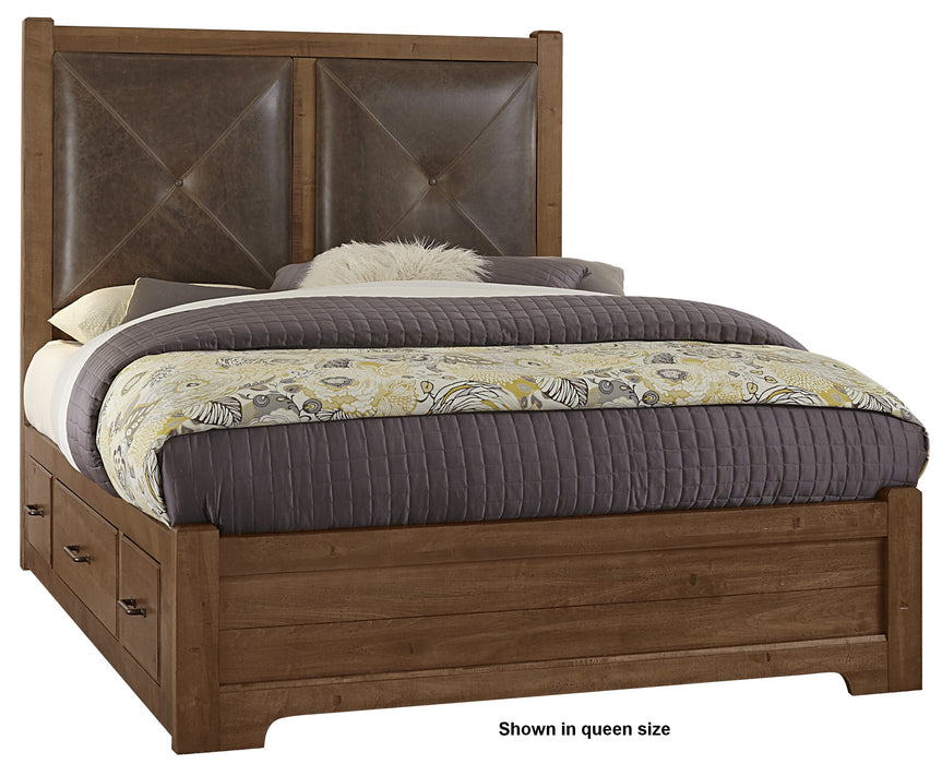 Cool Rustic Amber Queen Leather Bed with 2 Side Storage