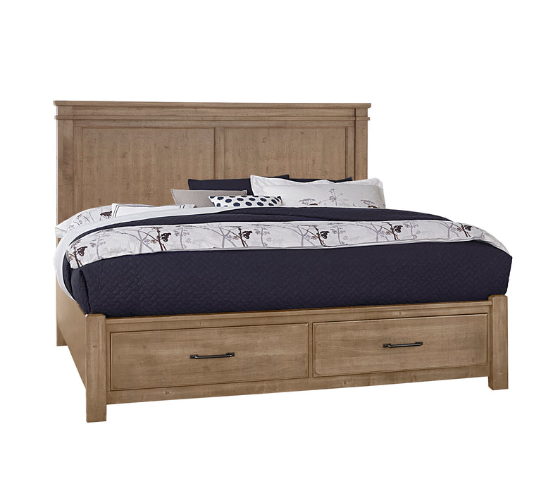 Cool Rustic Natural California King Mansion Bed with footboard storage