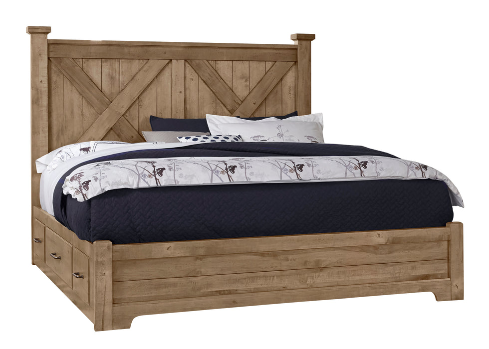 Cool Rustic Natural Queen X Bed with 1 Side Storage