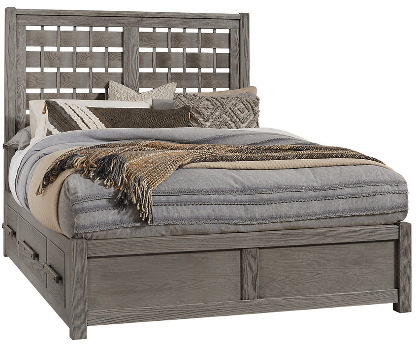 Latitudes Ash Grey King Horizontal Weave Bed with 2 Side Storage