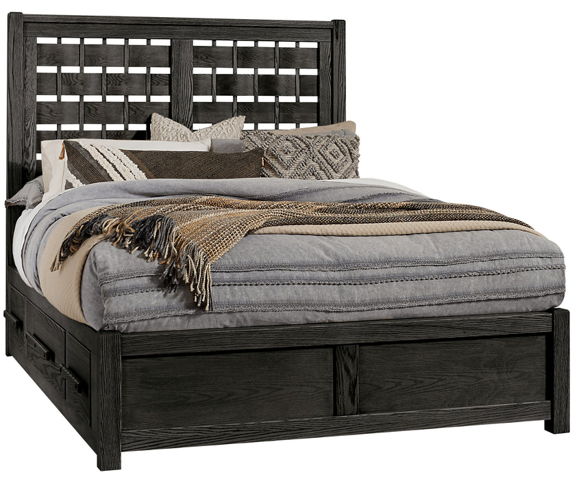 Latitudes Ebony King Horizontal Weave Bed with 2 Side Storage