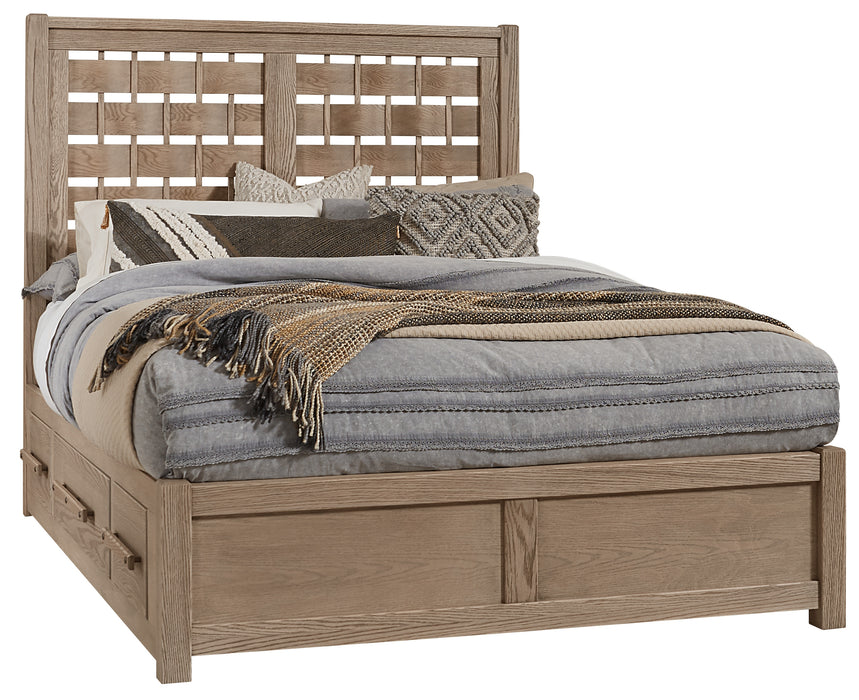 Latitudes Natural Oak Queen Horizontal Weave Bed with 1 Side Storage