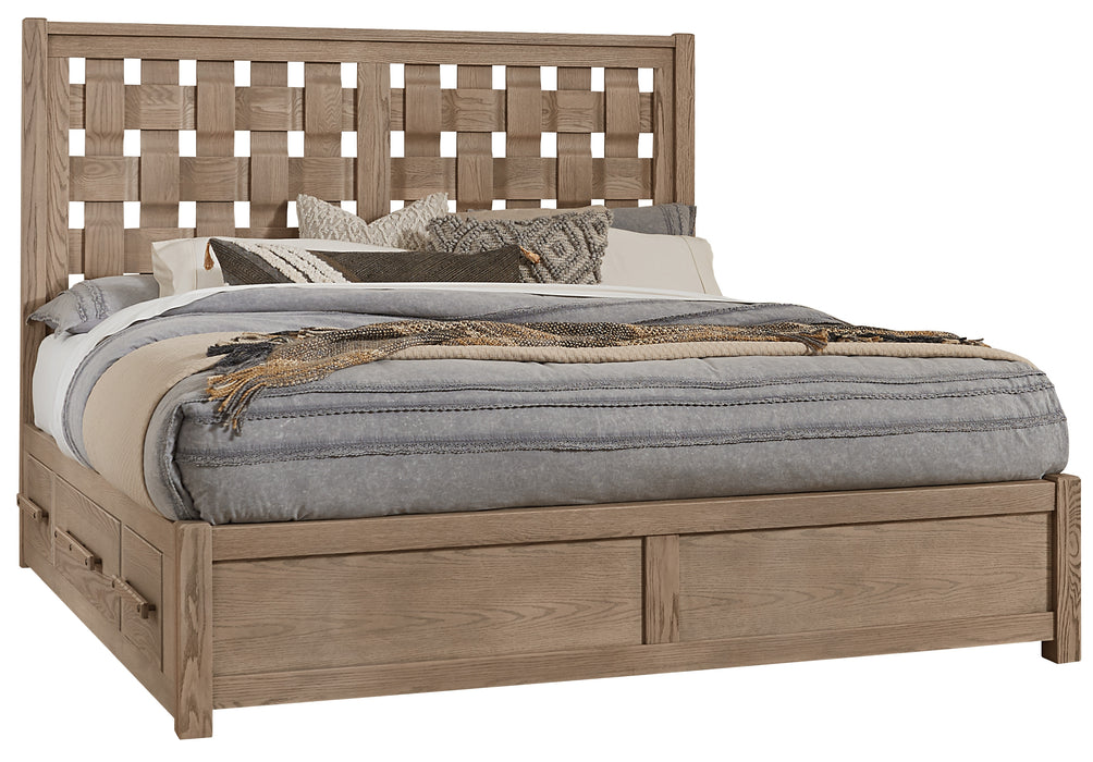 Latitudes Natural Oak Queen Basket Weave Bed with 1 Side Storage