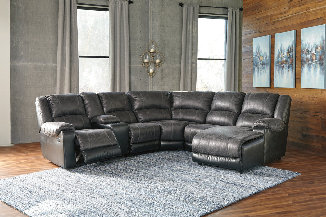 Nantahala Signature Design by Ashley 6-Piece Reclining Sectional with Chaise