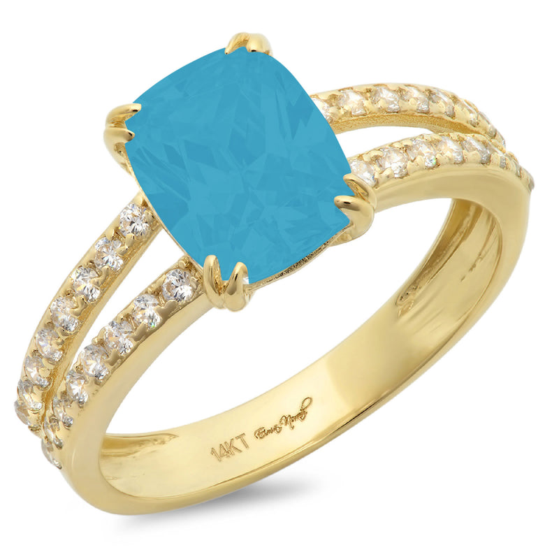 Turquoise-Solitaire with Accents-146-Yellow-Gold-front