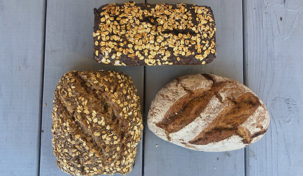 Try all three kinds of our breads at once! Sunflower Crust bread, Multigrain Sourdough Rye  Bread, Sourdough Rye Bread. All of our breads are vegan, contain no sugar, and no preservatives.