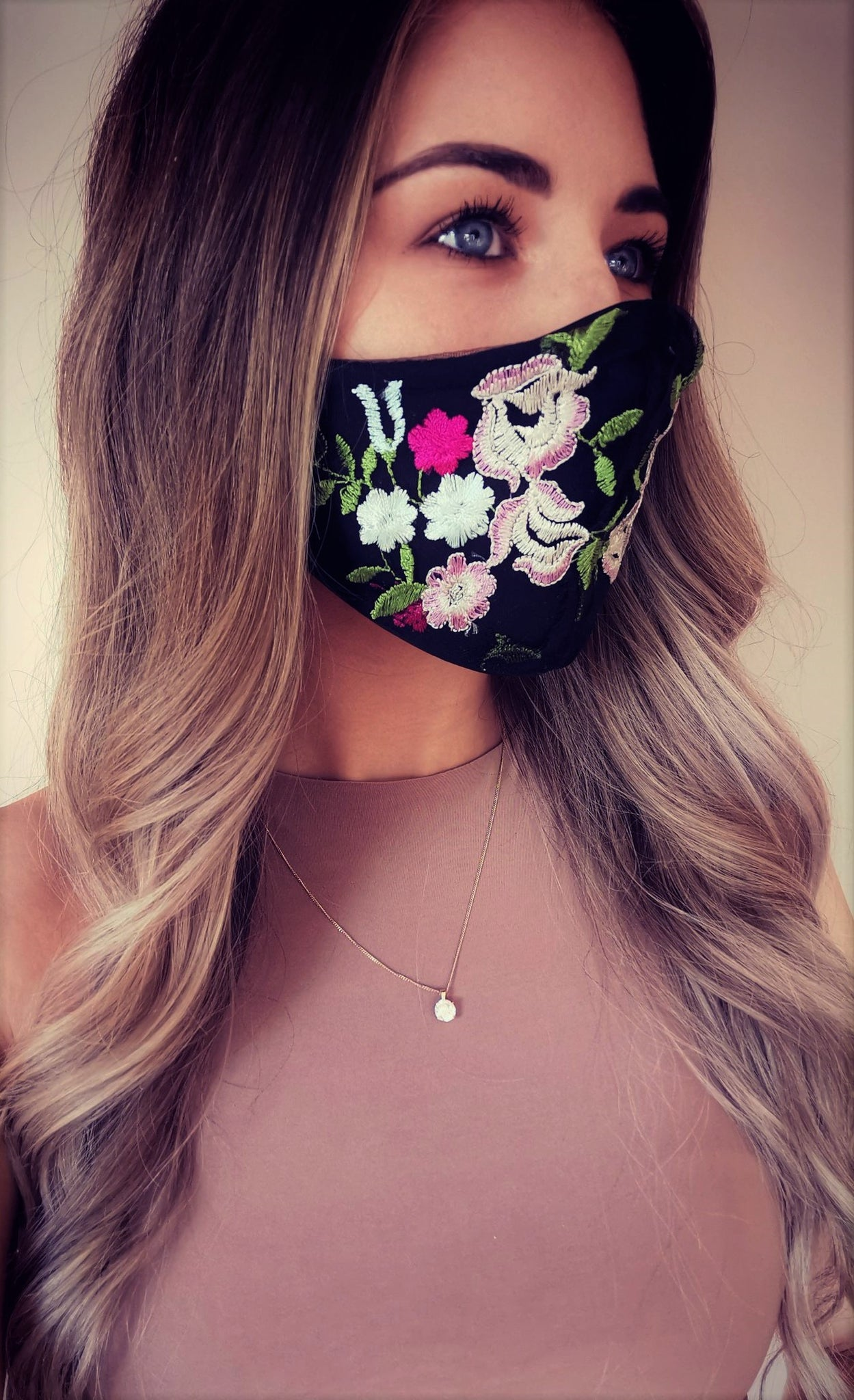 Embroidery Floral Satin Mask