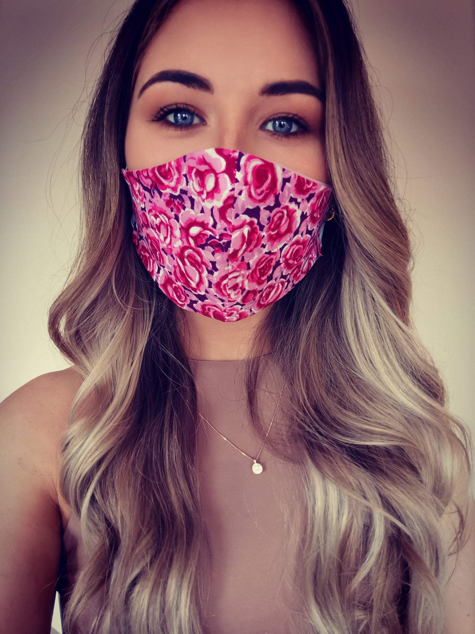 Blue Rose Print Face Mask
