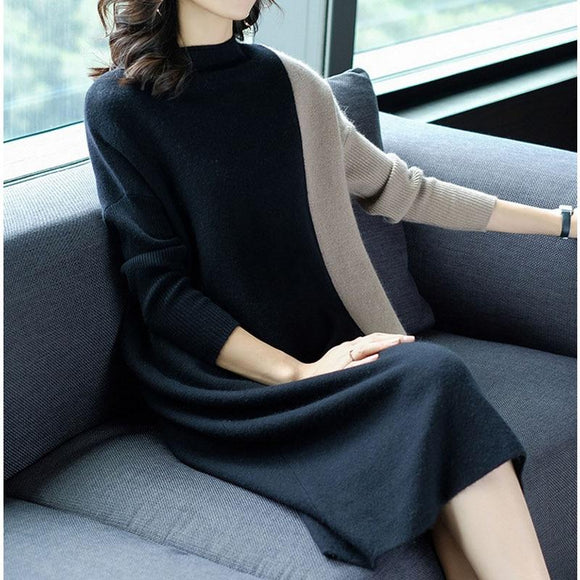 Women Patchwork Loose Sweater Dresses