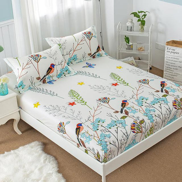 Floral Birds Fitted Sheet