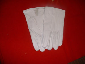 Plain White Kid Leather Gloves No Cuff