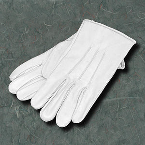 White Leather Gloves-No Cuff