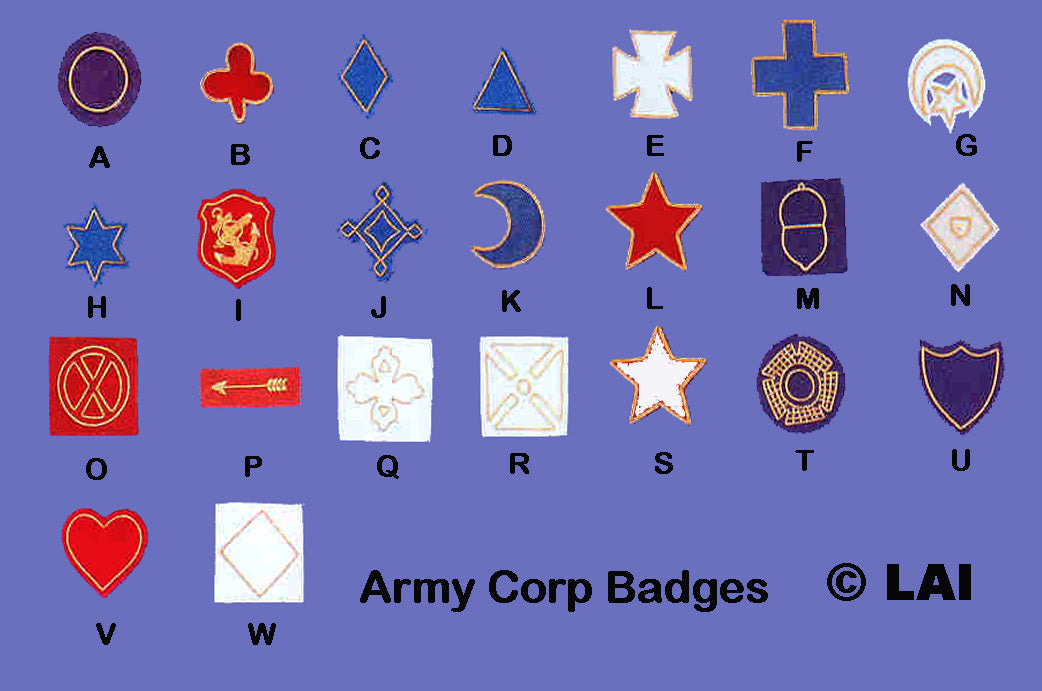 Civil War Army Corp Badges for Union Army
