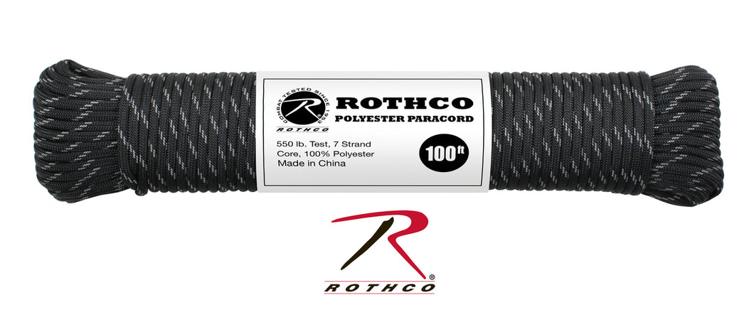 Polyester Paracord - Black Reflective 550lb 100ft