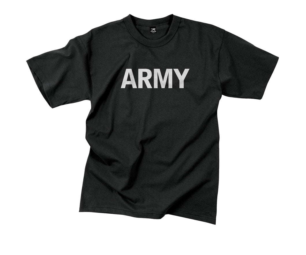 Military T-Shirts - Physical Training (Black w-Reflective Grey)