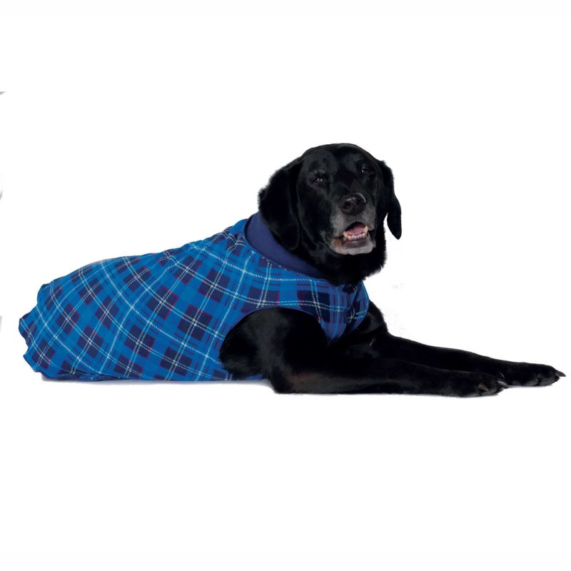 Hundepullover Goldpaw Double Stretch Fleece Blau/Schottenkaro