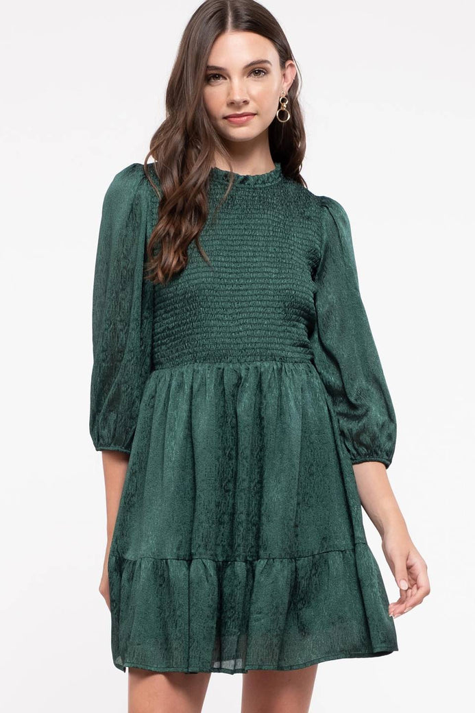 Smocked Ruffle Trim Dress
