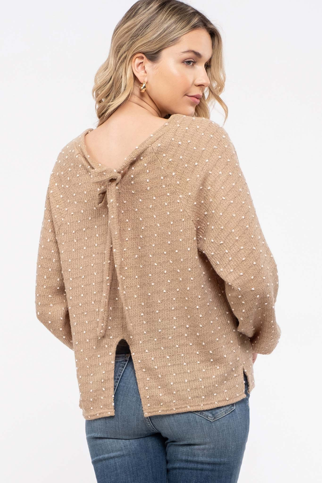 Tie-Back Swiss Dot Knit Sweater