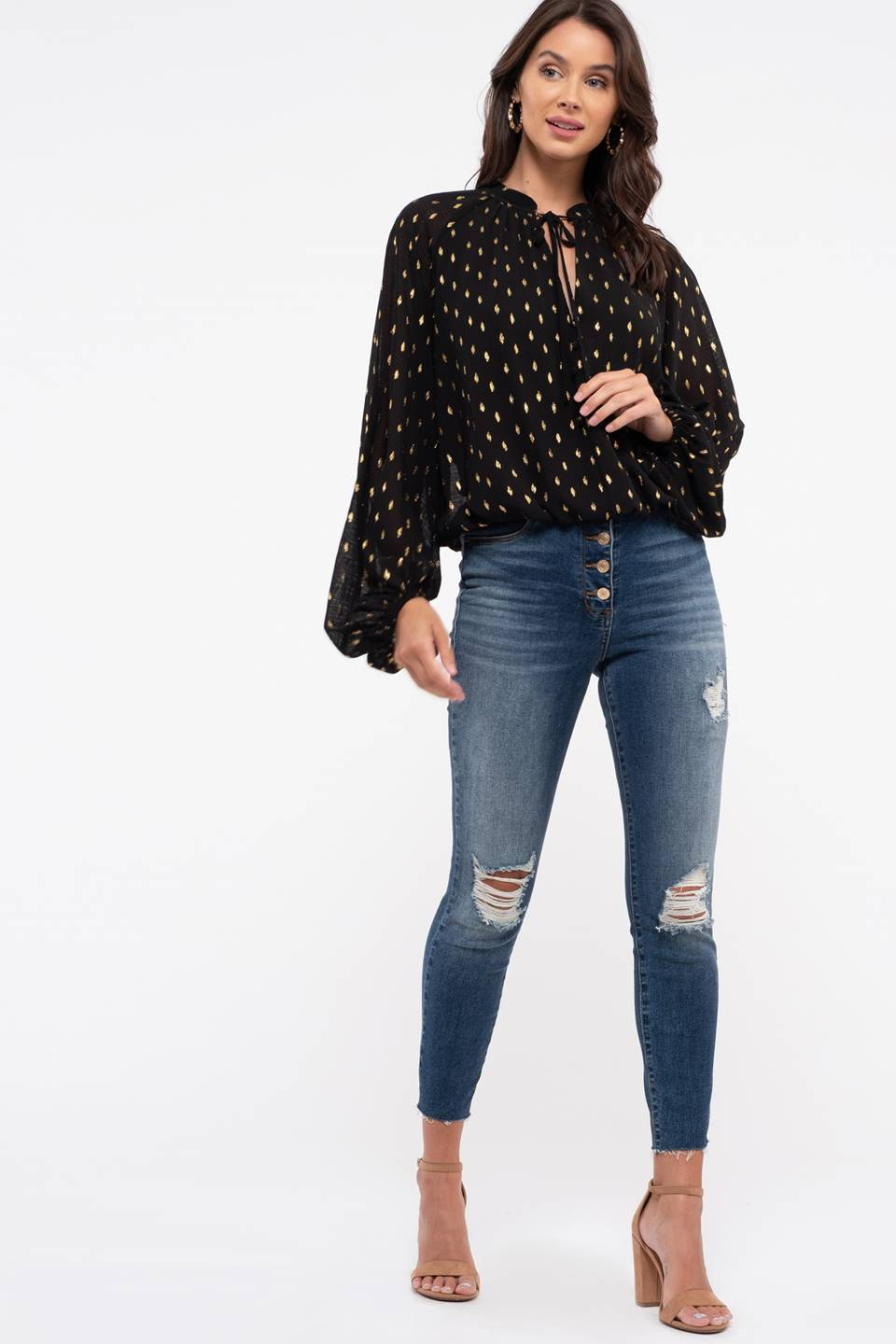 Golden Foil Dot Peasant Top