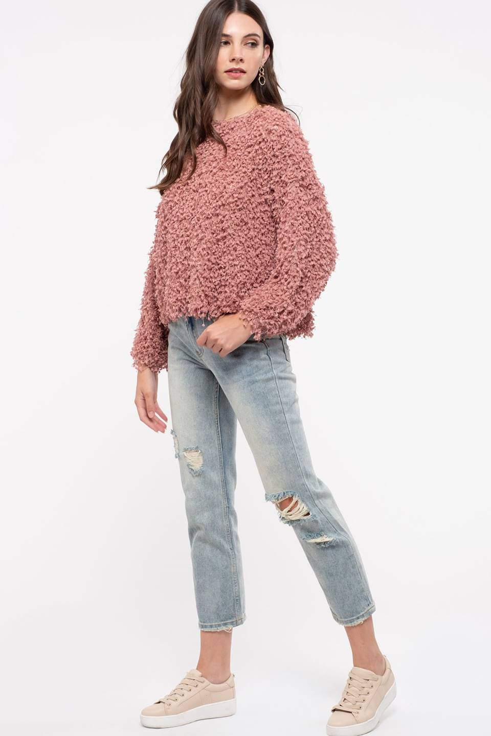 Long Sleeve Popcorn Sweater