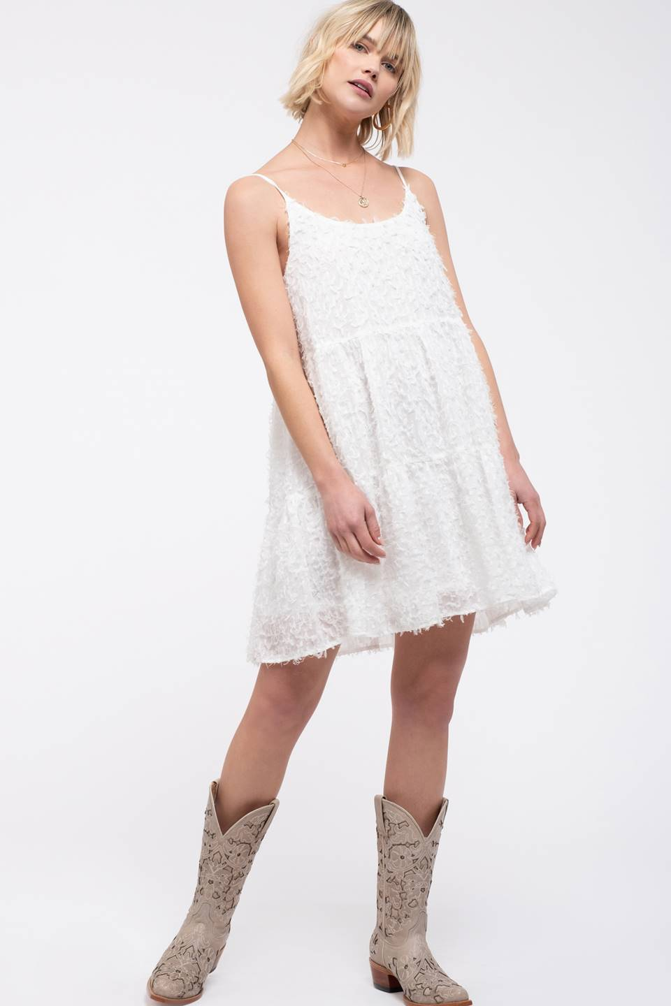 3D Fringe Tiered Dress