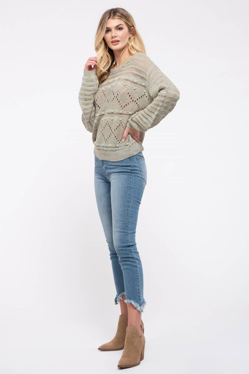 Crochet Open-Knit Sweater