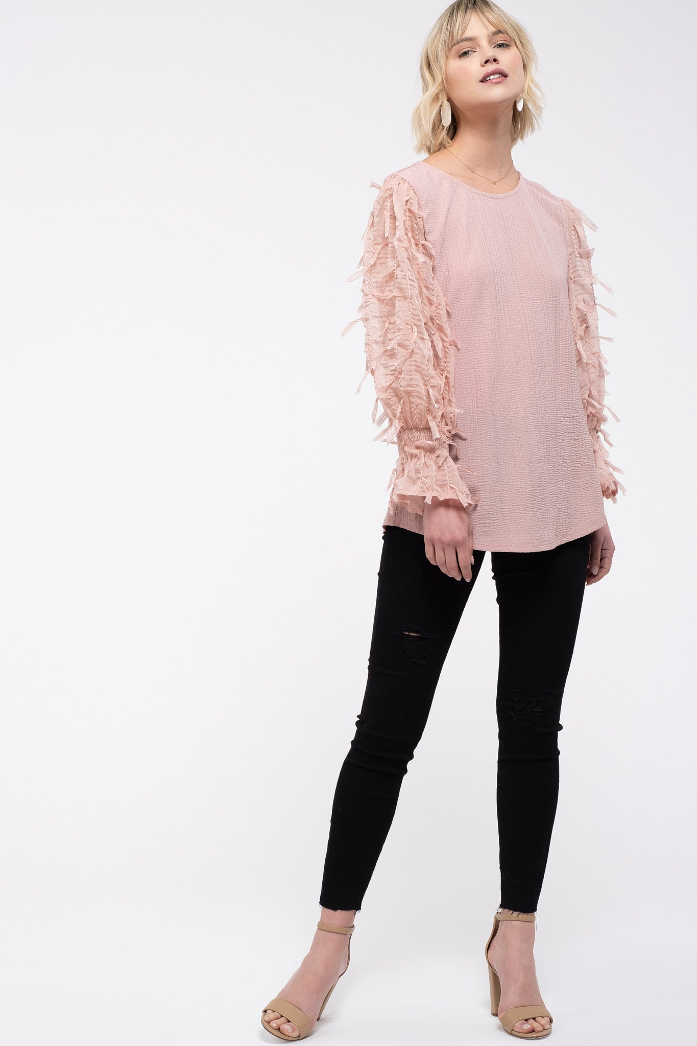 3D Textured Sleeve Top